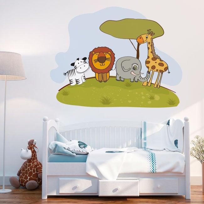 Decorative vinyl children's animals zoo
