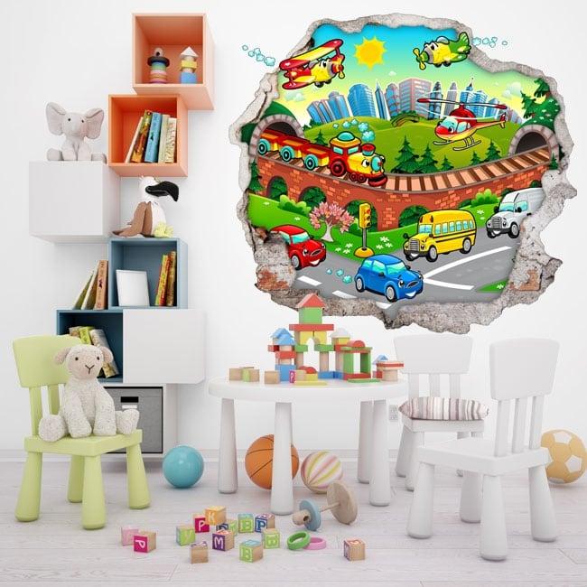 Decorative vinyl 3d child city
