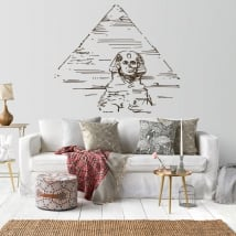 Decorative vinyl pyramids and great sphinx of guiza