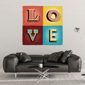 Decorative vinyl and stickers retro love