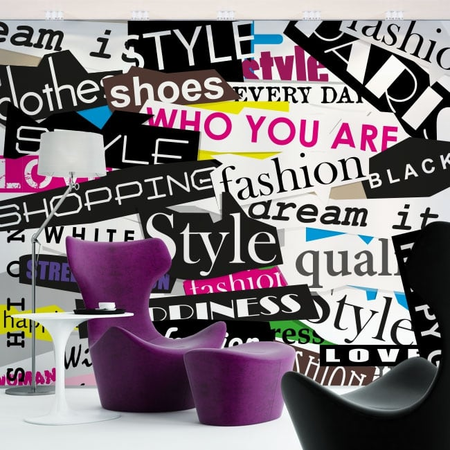 Vinyl wall murals collage texts fashion and style