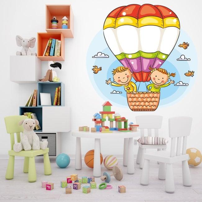Vinyl and stickers children in a balloon