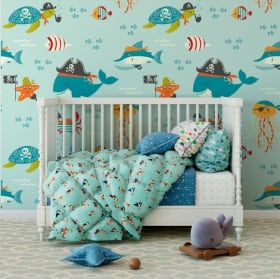 Wall murals children's vinyl sea world