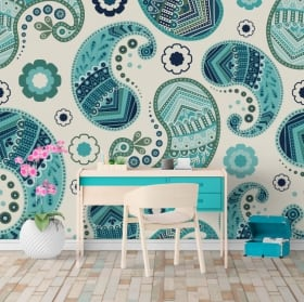 Wall murals of vinyl cashmere or paisley flowers