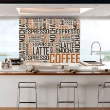 Decorative vinyl and stickers coffee texts