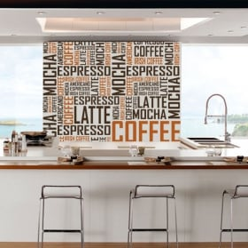 Decorative vinyl and stickers coffee texts