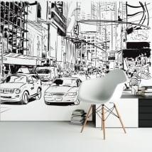 Vinyl wall murals city illustration