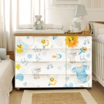 Adhesive stickers for dressers and baby furniture