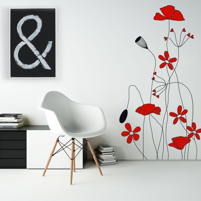 Decorative vinyl and stickers red flowers