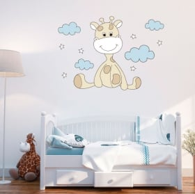 Vinyl baby giraffe clouds and stars