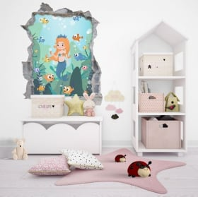 Children's vinyl princess 3d wall hole