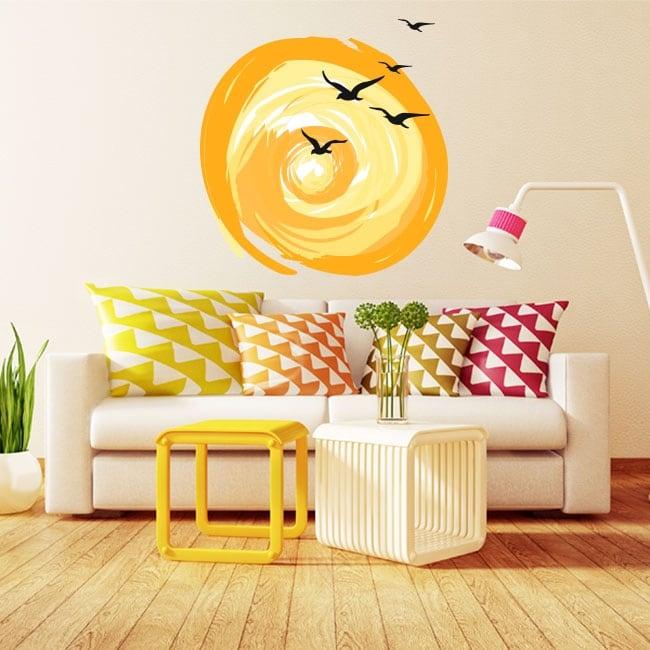 Decorative vinyl birds and sunset