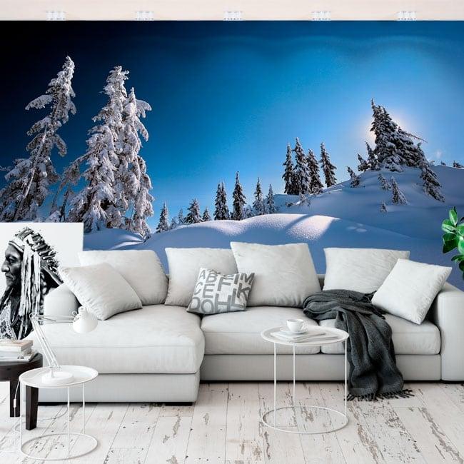 Vinyl wall murals pines in the snow