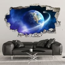 Wall murals planet earth and comet 3d