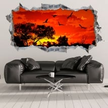 Stickers and decorative vinyls sunset in africa 3d