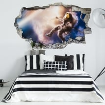 Vinyl walls astronaut in space 3d