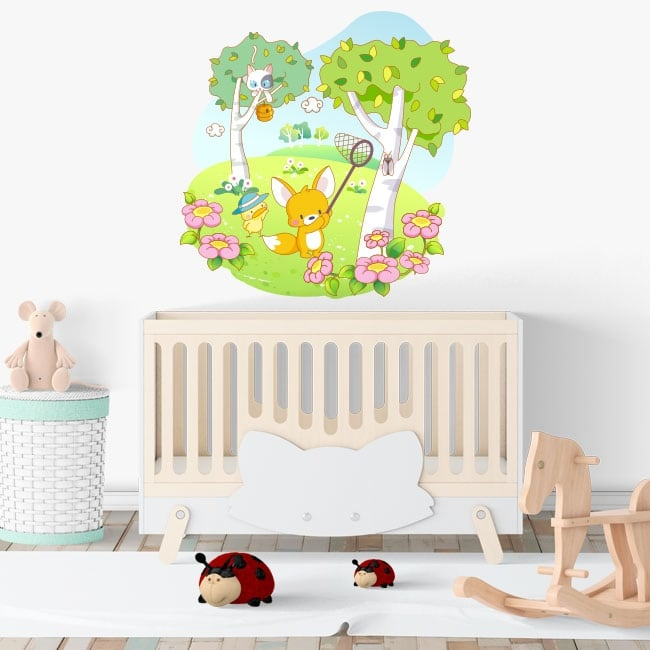 Vinyl and children's stickers animals in the forest