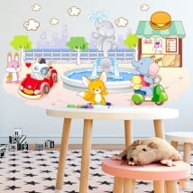 Vinyl and stickers for children animals playing