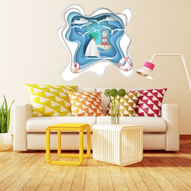 Decorative vinyl sailboat and lighthouse origami 3d paper