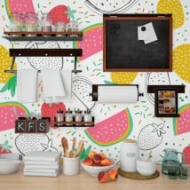 Wall murals of vinyl fruits kitchens