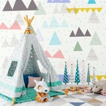 Wall murals triangles and strokes