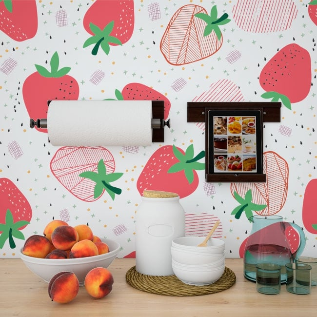 Vinyl wall murals strawberries to decorate