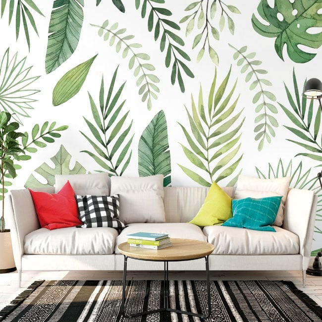 Vinyl wall murals with leaves of plants to decorate
