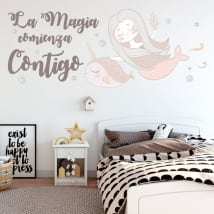 Stickers and vinyls phrases the magic begins with you