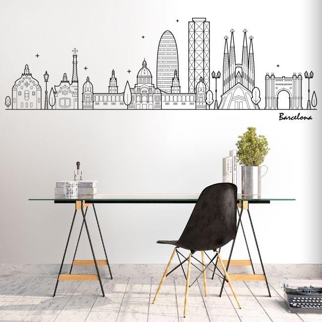 Decorative vinyl and stickers barcelona skyline