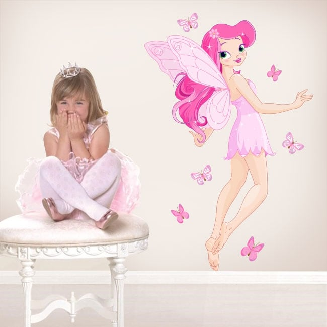 Stickers and children's vinyl fairy with butterflies