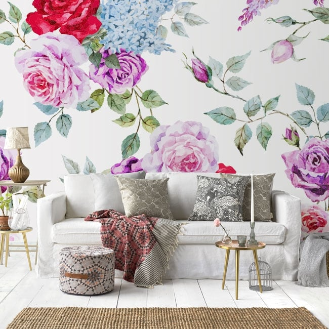 Vinyl wall murals with roses