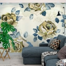 Vinyl wall murals flowers to decorate