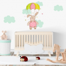 Stickers and children's vinyl parachutist bear