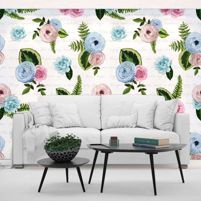 Vinyl wall murals flowers with phrases