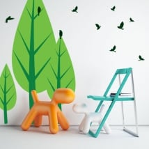Decorative vinyl trees and birds