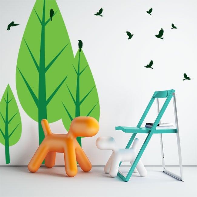 Decorative vinyl trees and birds