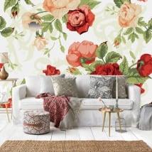 Vinyl wall murals vintage nature roses