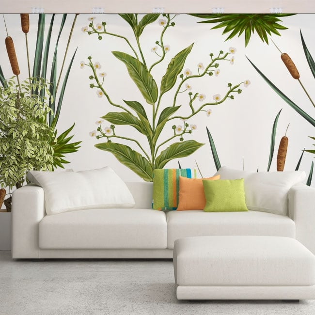 Wall murals of vinyls with flowers and cattails or typha
