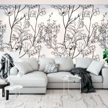 Vinyl wall murals flowers illustration