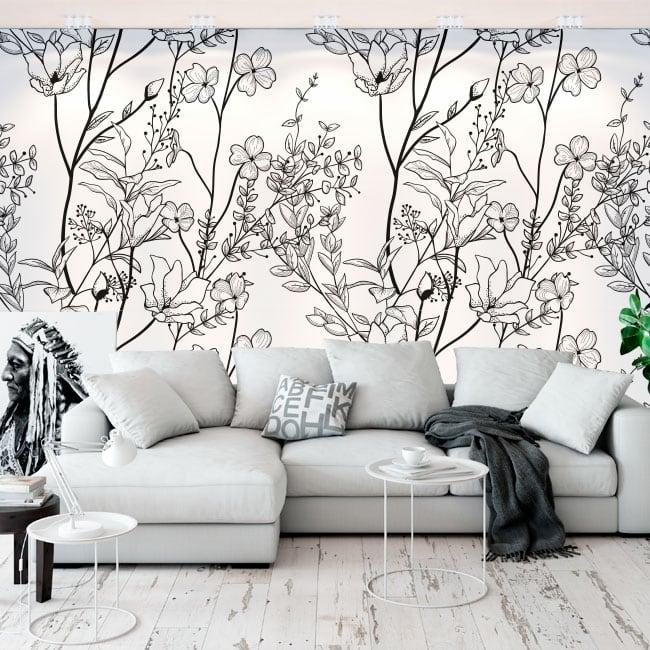 Vinyl wall murals flowers illustration