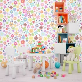 Vinyl murals colorful flowers