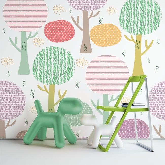 Vinyl wall murals colored trees