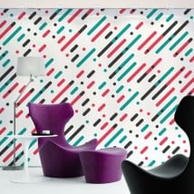 Vinyl wall murals lines and circles of colors