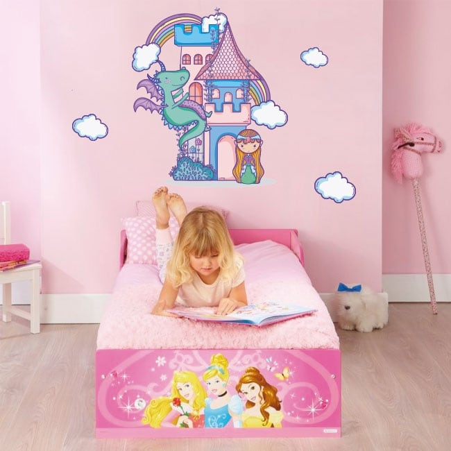 Vinyl and children's stickers castle and princess