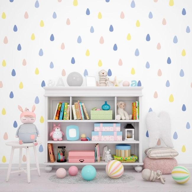 Wall murals of adhesive vinyl drops of colors