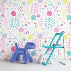 Wall murals of adhesive vinyl colored strokes