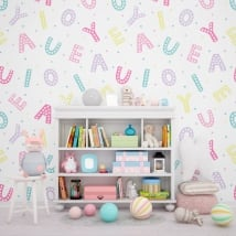 Wall murals of adhesive vinyl alphabet letters