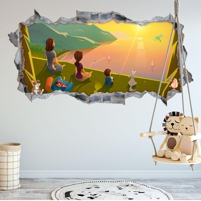 Vinyl children's room family in the field 3d