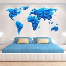 Vinyl and stickers world map blue triangles