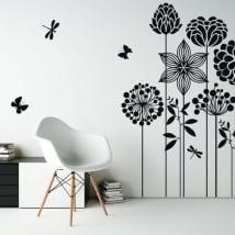 Decorative vinyl flowers butterflies and dragonflies